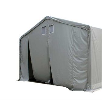 Skladišni šatori 720g/m2 - 6 x 24 m  -  vatrootporna cerada - bočne stranice 4,0m - Tip 2 - ojačana krovna konstrukcija i podni okvir