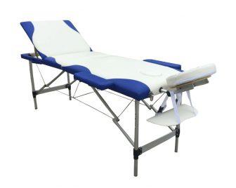 Discontmania 3-zonski aluminijski masažni stol u bijeloj / plavoj boji s poklon torbom