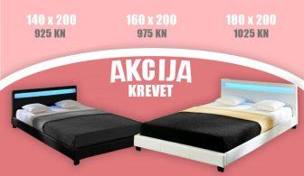 Discontmania Krevet od umjetne kože s podnicom i s LED trakom  (više boja, više dimenzija)