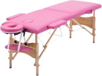 Discontmania 2-zonski drveni masažni stol s poklon torbom u PINK boji.