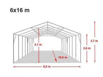 Party šator 6x16m, bočna visina:2,6m-PROFESSIONAL DELUXE 550g/m2-posebno jaka čelična konstukcija