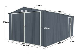 Lobo Glorioso 19,61m2 stabilna metalna vrtna kućica/garaža sa dva ulaza, ulaz XXL veličine
