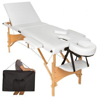 Discontmania 3-zonski drveni masažni stol u bijeloj boji s poklon torbom